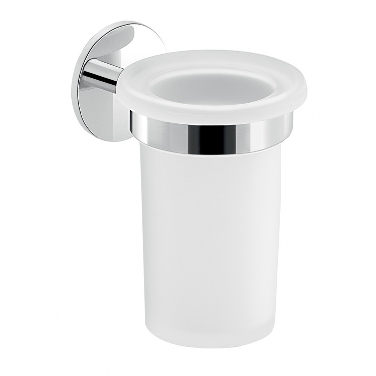 Toothbrush Holder, Gedy 3610-13, Frosted Glass Toothbrush Holder With Adhesive Chrome Mounting