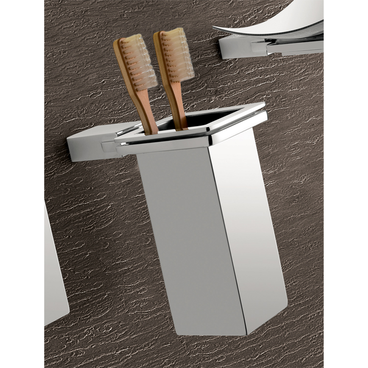 Toothbrush Holder, Gedy 3810-01-13, Wall Mounted Square Polished Chrome Toothbrush Holder