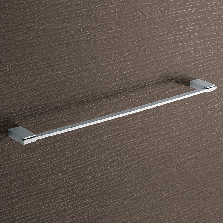 Towel Bar, Gedy 3821-60-13, Square 24 Inch Polished Chrome Towel Bar