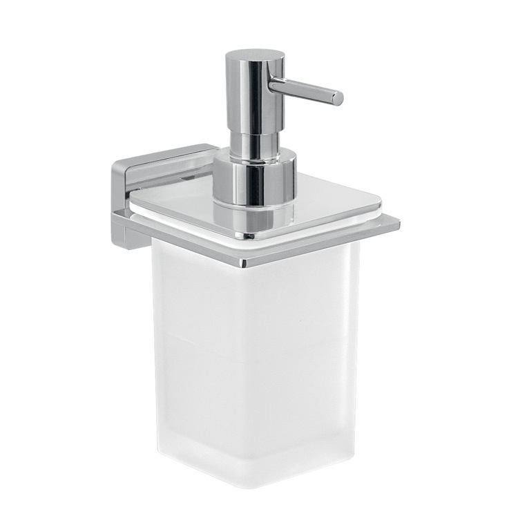 Soap Dispenser, Gedy 4481-13, Glass Soap Dispenser With Chrome Wall Mounted Holder