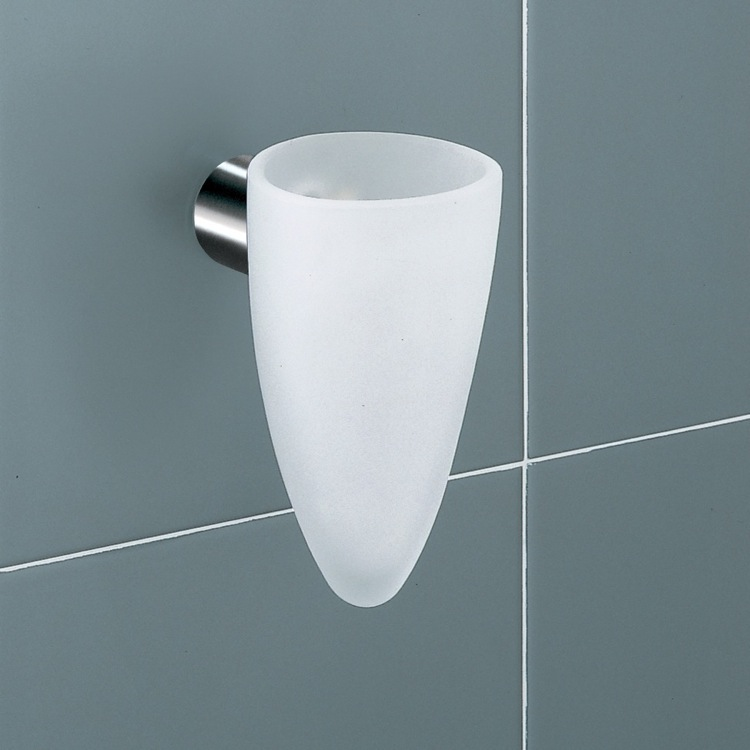 Toothbrush Holder, Gedy 4610-02, White Frosted Glass Tumbler Holder