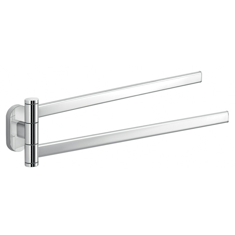 Swivel Towel Bar, Gedy 5323-13, Polished Chrome Dual Swivel Towel Bar