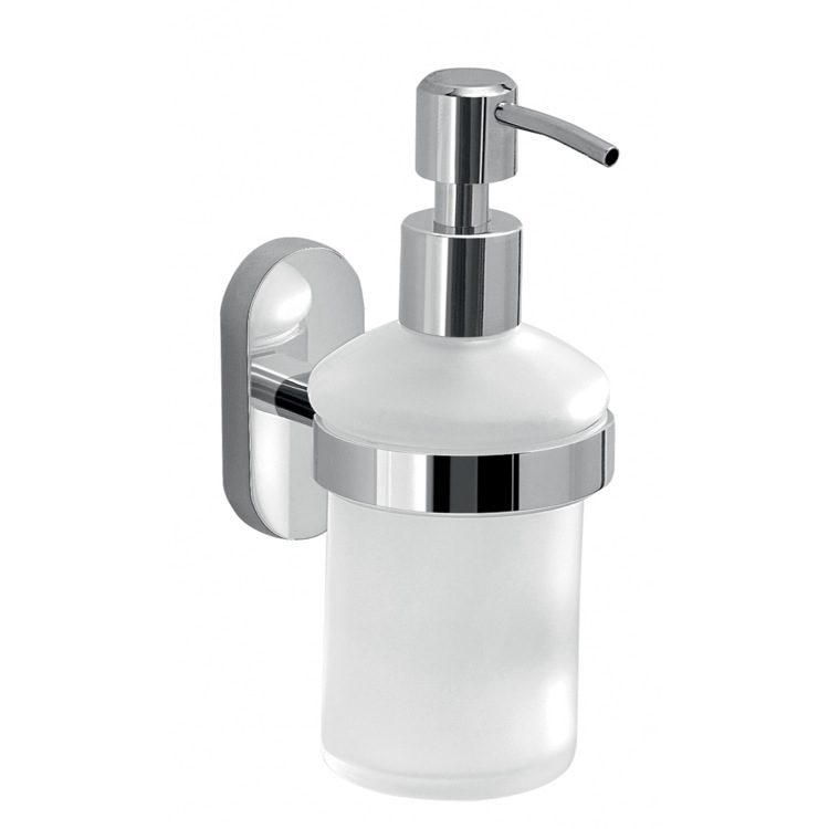 Soap Dispenser, Gedy 5381-13, Wall Mounted Frosted Glass Soap Dispenser