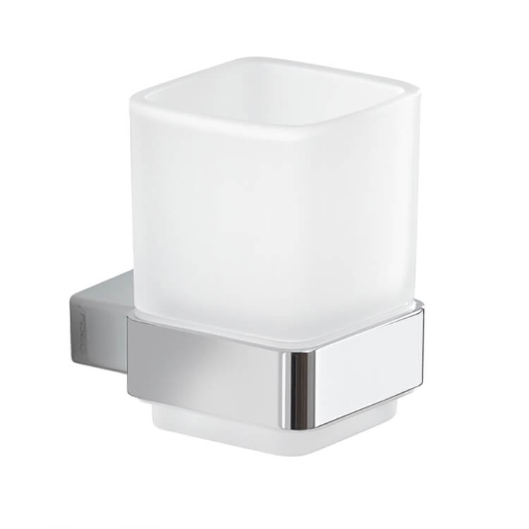 Toothbrush Holder, Gedy 5410-13, Wall Mounted Frosted Glass Toothbrush Holder With Chrome Mounting