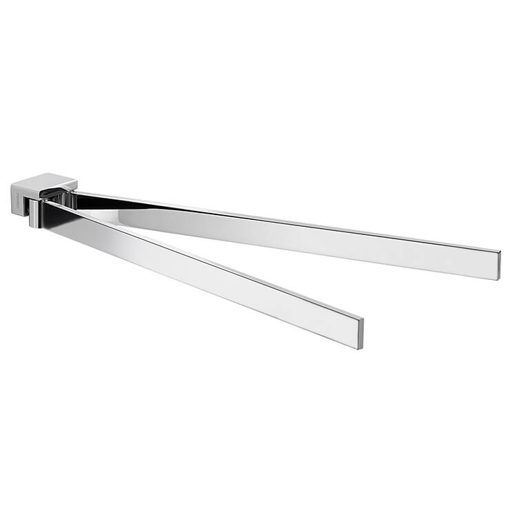 Swivel Towel Bar, Gedy 5423-13, 15 Inch Square Double Swivel Towel Bar In Polished Chrome