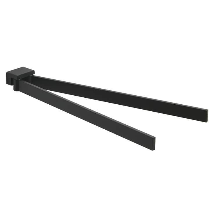 Swivel Towel Bar, Gedy 5423-M4, 15 Inch Square Double Swivel Towel Bar In Matte Black