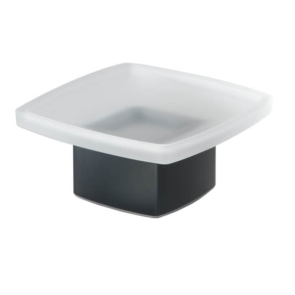 Soap Dish, Gedy 5451-M4, Square Frosted Glass Soap Dish with Matte Black Base