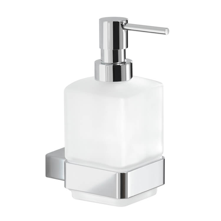 Soap Dispenser, Gedy 5481-13, Wall Mounted Frosted Glass Soap Dispenser