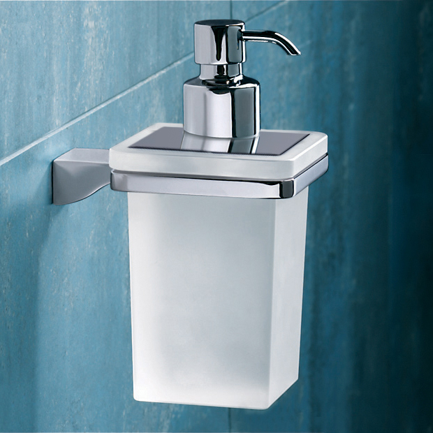 Soap Dispenser, Gedy 5781-13, Wall Mounted Square Frosted Glass Soap Dispenser With Chrome Mounting