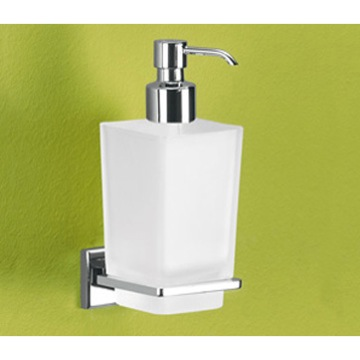 Soap Dispenser, Gedy 6981-13, Wall Mounted Frosted Glass Soap Dispenser With Chrome Mounting