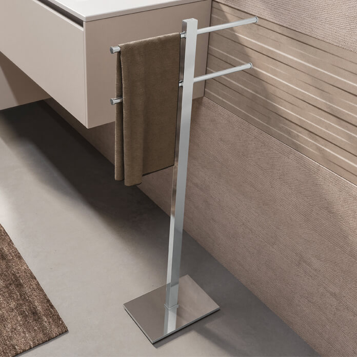Towel Stand, Gedy 7131-13, Chrome Towel Stand With 2 Sliding Rails