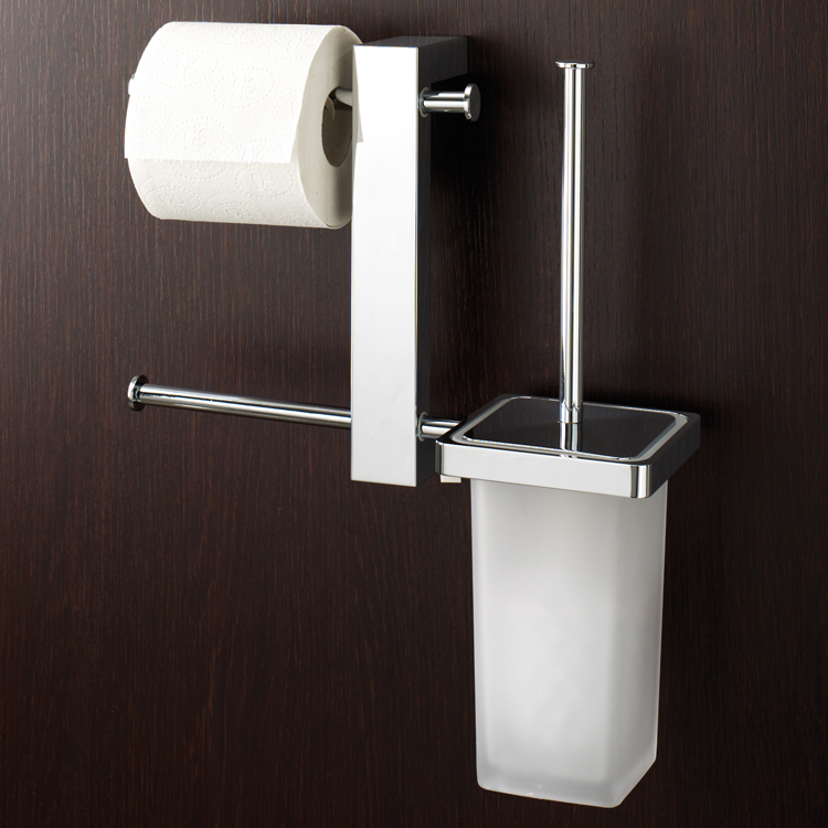 Bathroom Butler, Gedy 7640-13, Wall Mount Chrome Rack With Tissue Holder and Toilet Brush