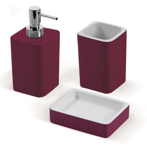Bathroom Accessory Set, Gedy ARI200-53, Ruby Red Accessory Set Made of Thermoplastic Resins