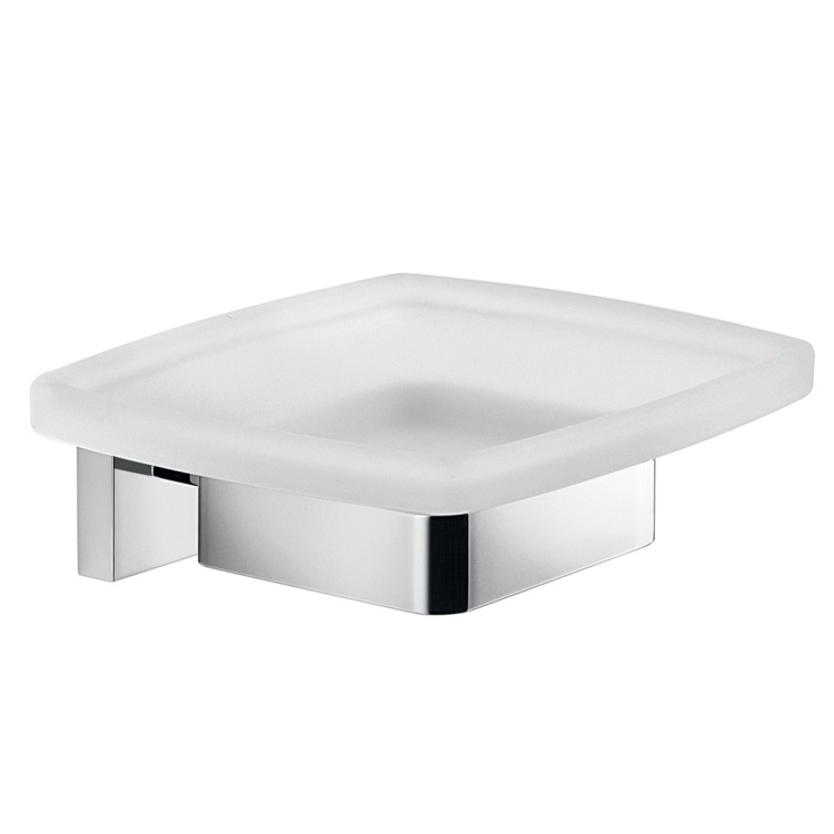 Soap Dish, Gedy A011-13, Wall Mounted Frosted Glass Soap Dish With Chrome Mounting