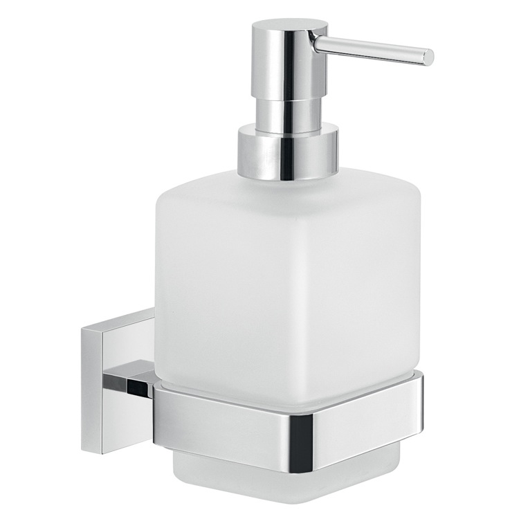 Soap Dispenser, Gedy A081-13, Wall Frosted Glass Soap Dispenser With Chrome Mounting