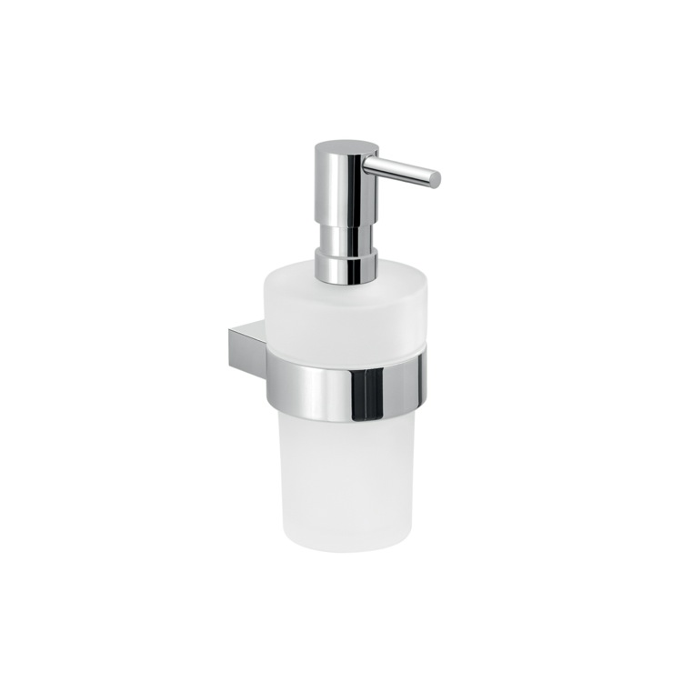Soap Dispenser, Gedy A281-13, Round Wall Hung Glass Soap Dispenser With Chrome Mounting