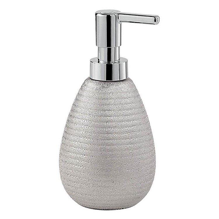 Soap Dispenser, Gedy AD80-73, Silver Soap Dispenser Made From Pottery