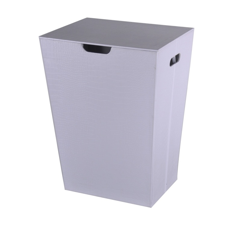 Laundry Basket, Gedy AL38-02, Crocodile Laundry Basket Made From Faux Leather in White Finish