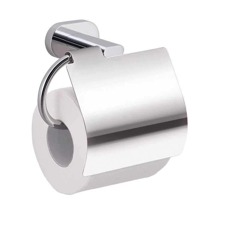 Toilet Paper Holder, Gedy BE25-13, Chrome Wall Mounted Toilet Paper Holder with Cover