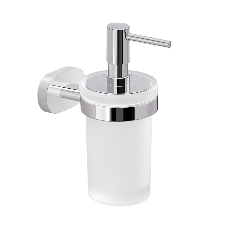 Soap Dispenser, Gedy BE81-13, Wall Mounted Frosted Glass Soap Dispenser with Chrome Mounting