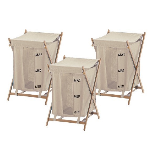 Laundry Basket, Gedy BU380-03, 3 Piece Beige Laundry Baskets