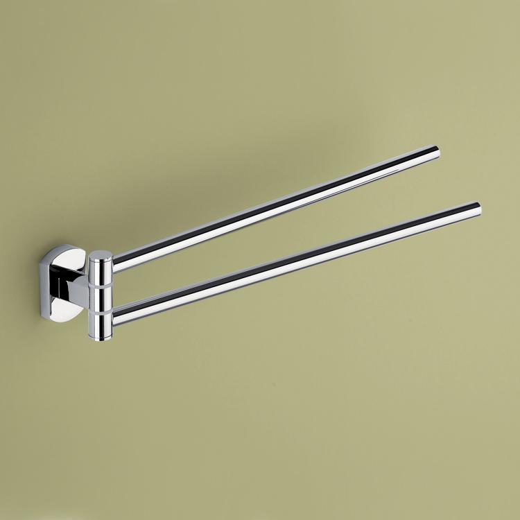 14 Inch Double Swivel Polished Chrome Towel Bar