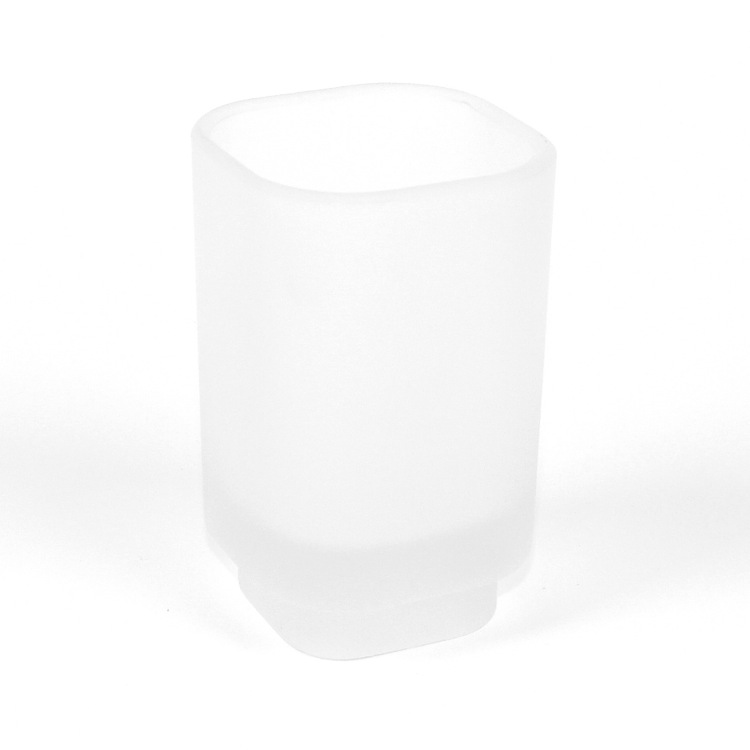 Toothbrush Holder, Gedy 1098-S2, Satin Glass Round Toothbrush Holder