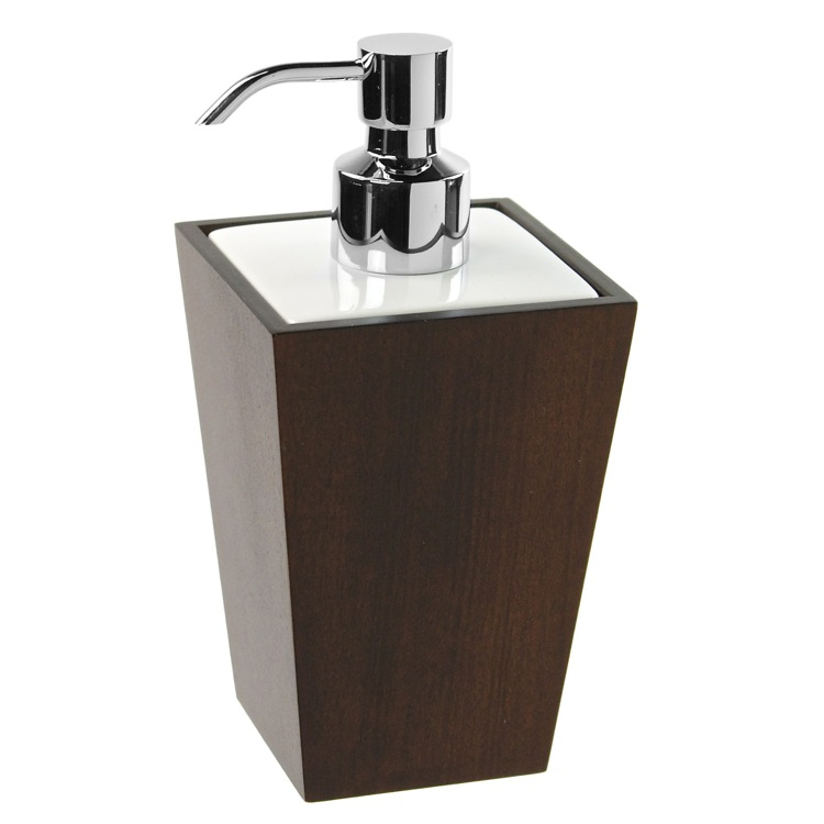 Soap Dispenser, Gedy 1581-31, Square Tanganika Wood Soap Dispenser