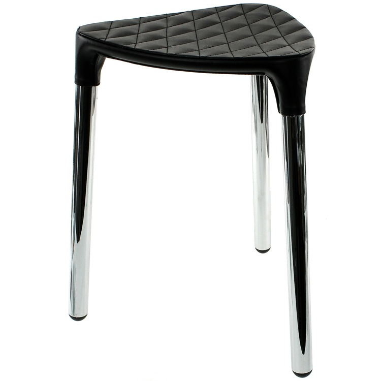 Bathroom Stool, Gedy 2172-55, Black Faux Leather Stool