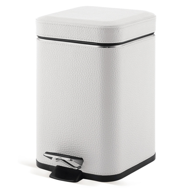 Square White Faux Leather Waste Bin With Pedal