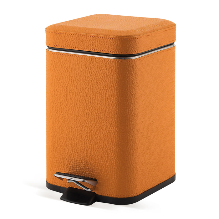 Waste Basket, Gedy 2209-67, Square Orange Waste Bin With Pedal