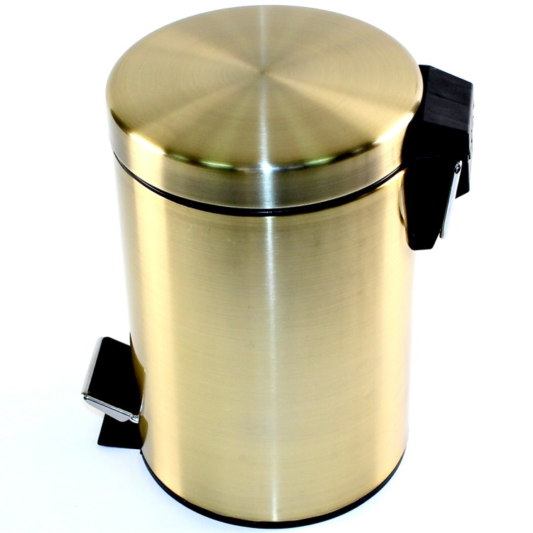 Round Polished Bronze Waste Bin With Pedal