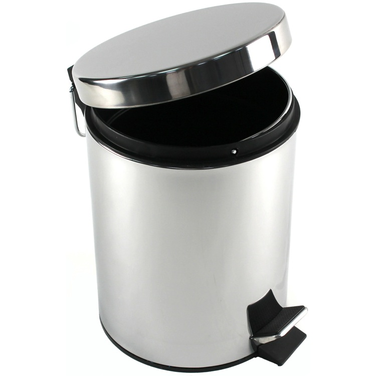 Waste Basket, Gedy 2709-13, Round Polished Chrome Waste Bin With Pedal