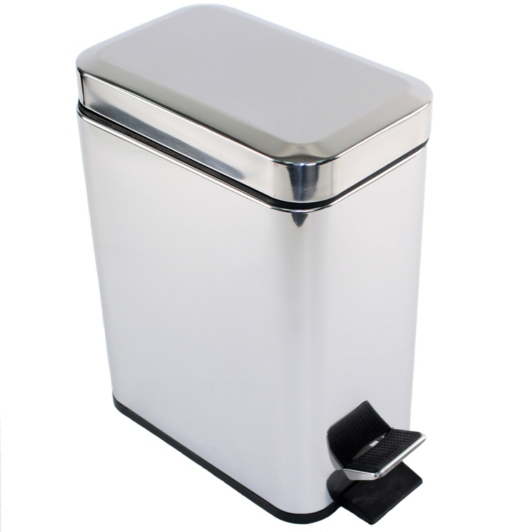 Waste Basket, Gedy 2909-13, Rectangular Polished Chrome Waste Bin With Pedal