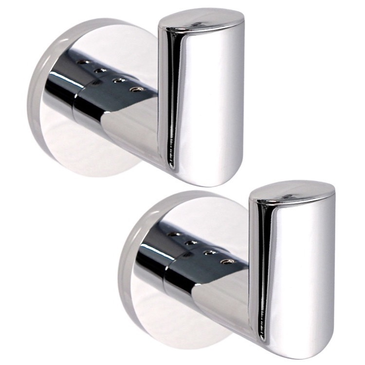 Bathroom Hook, Gedy 5127-13, Pair Of Polished Chrome Hook(s)