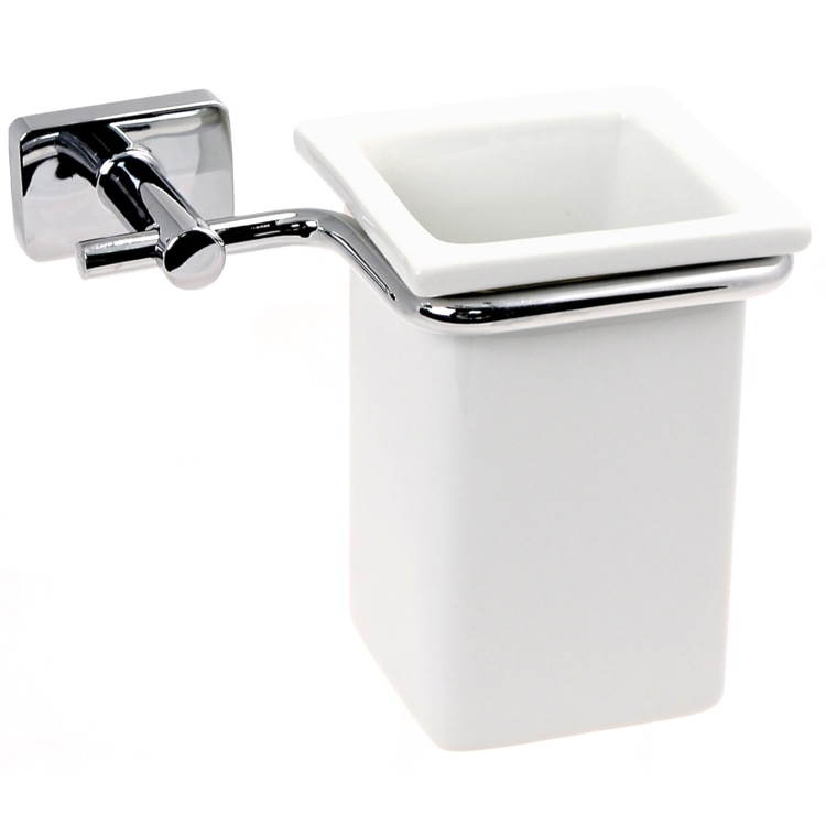 Toothbrush Holder, Gedy 6610-13, Wall Mounted Porcelain Toothbrush Holder With Chrome Mounting