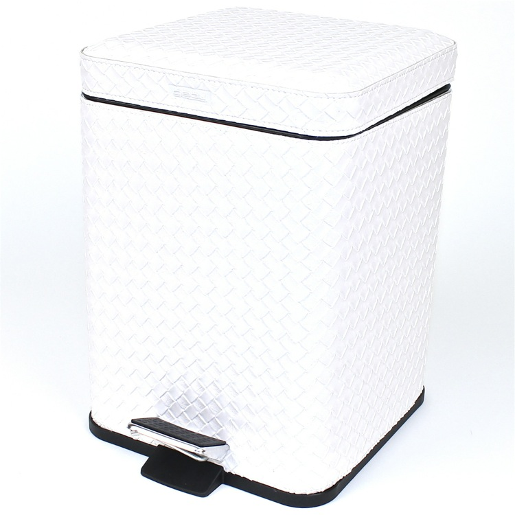 Waste Basket, Gedy 6729-42, Square Pearl White Faux Leather Waste Bin With Pedal