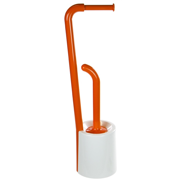 Bathroom Butler, Gedy 7032-93, Orange and White Round Bathroom Butler