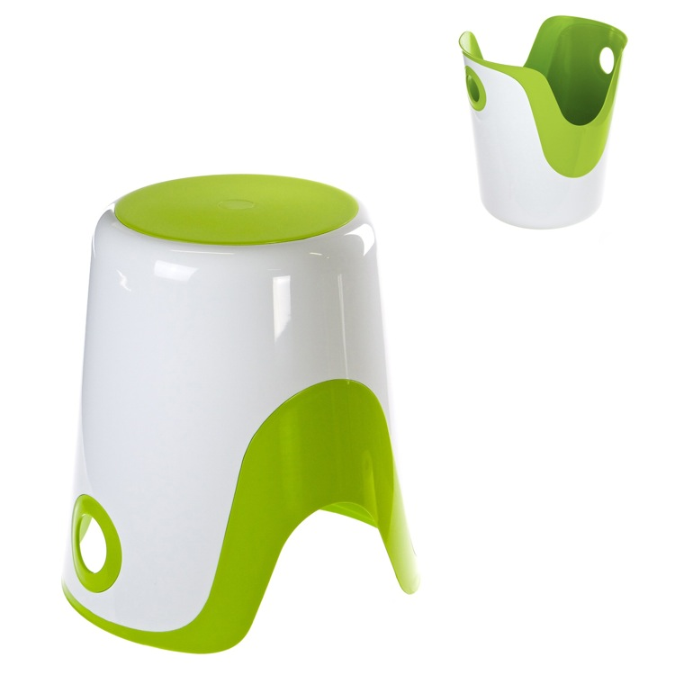 Bathroom Stool, Gedy 7073-60, Reversible Stool and Laundry Basket in White and Green Finish