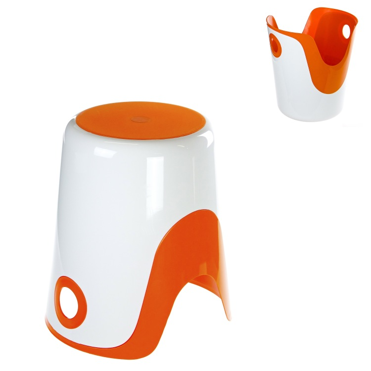 Bathroom Stool, Gedy 7073-93, Reversible Stool and Laundry Basket in White and Orange Finish