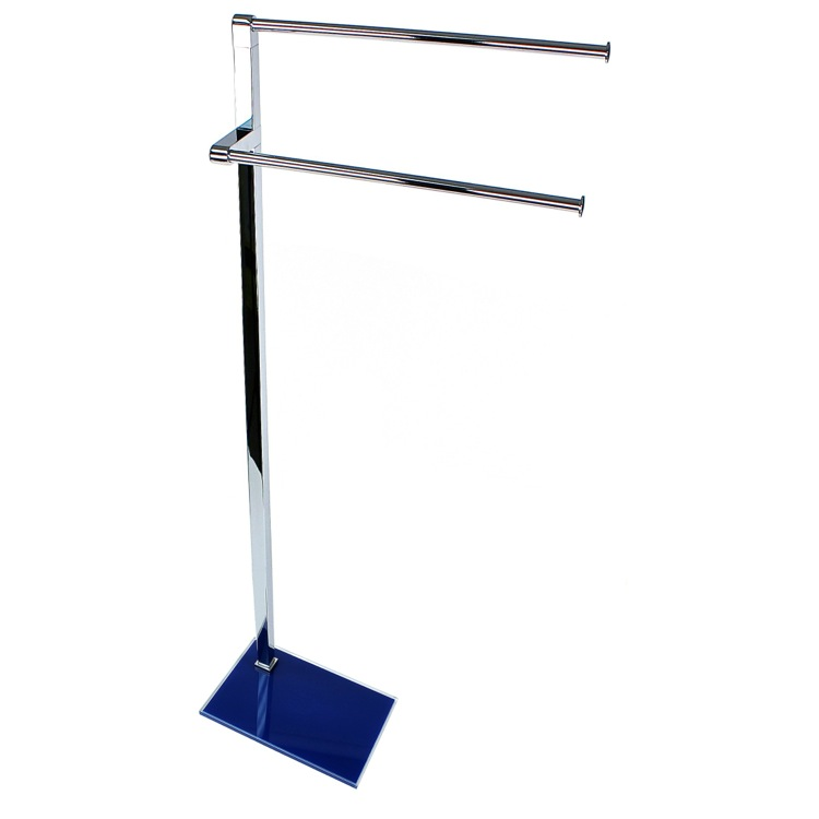 Towel Stand, Gedy 7831-05, Chrome Towel Stand with Blue Thermoplastic Resins Base