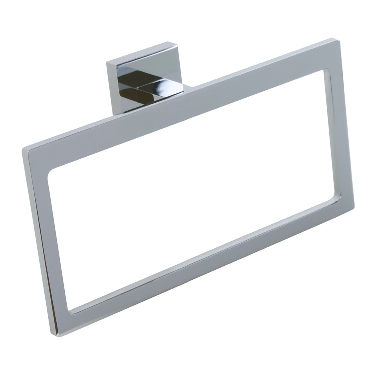 Towel Ring, Gedy A070-13, Modern Rectangular Chromed Brass and Cromall Towel Ring