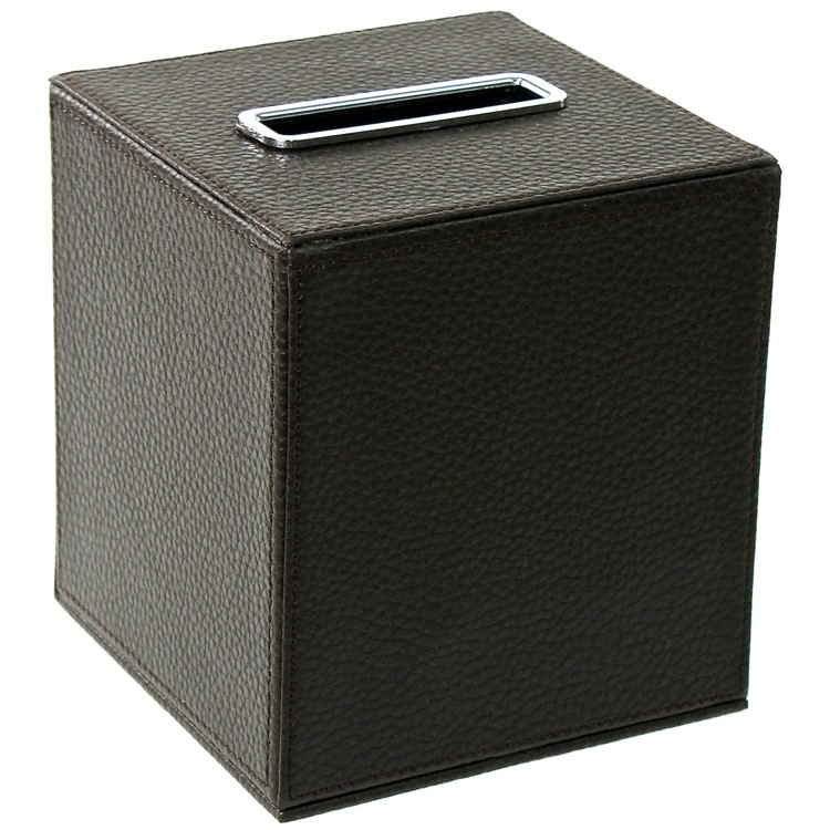 Tissue Box Cover, Gedy AC02-19, Square Tissue Box Holder Made From Faux Leather in Wenge Finish