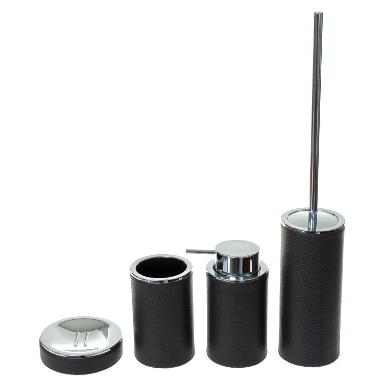 Bathroom Accessory Set, Gedy AC100-19, Wenge 4 Piece Accessory Set, Round and Free Stand