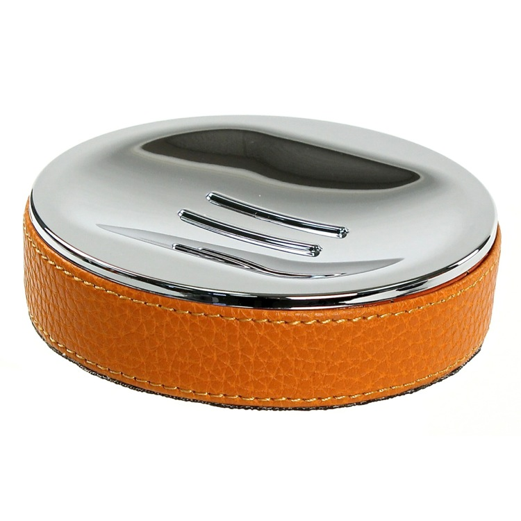 Soap Dish, Gedy AC11-67, Round Soap Dish Made From Faux Leather In Orange Finish
