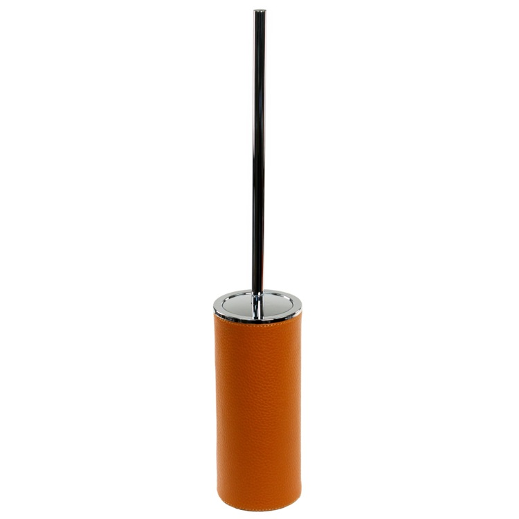 Toilet Brush, Gedy AC33-67, Free Standing Toilet Brush Holder Made From Faux Leather in Orange Finish