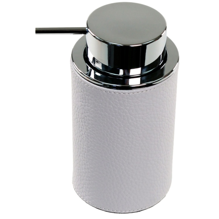 Soap Dispenser, Gedy AC80-02, Round Soap Dispenser Made From Faux Leather In White Finish