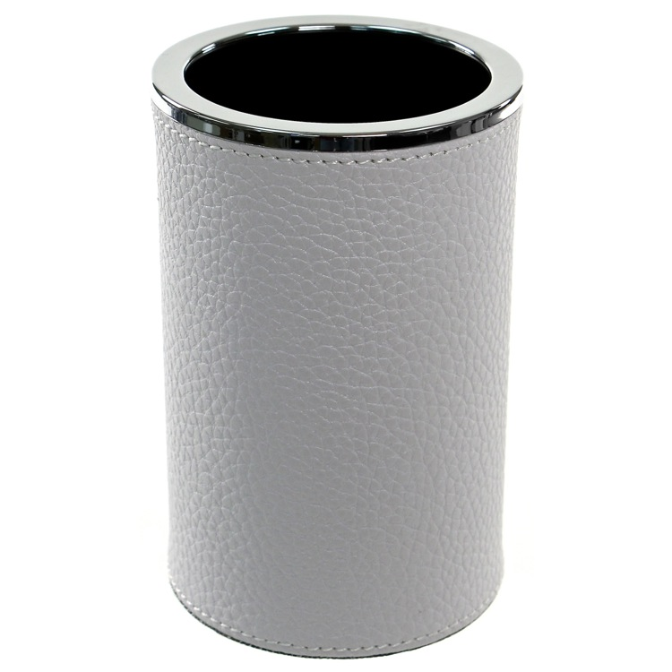 Toothbrush Holder, Gedy AC98-02, Round Toothbrush Holder Made From Faux Leather in White Finish