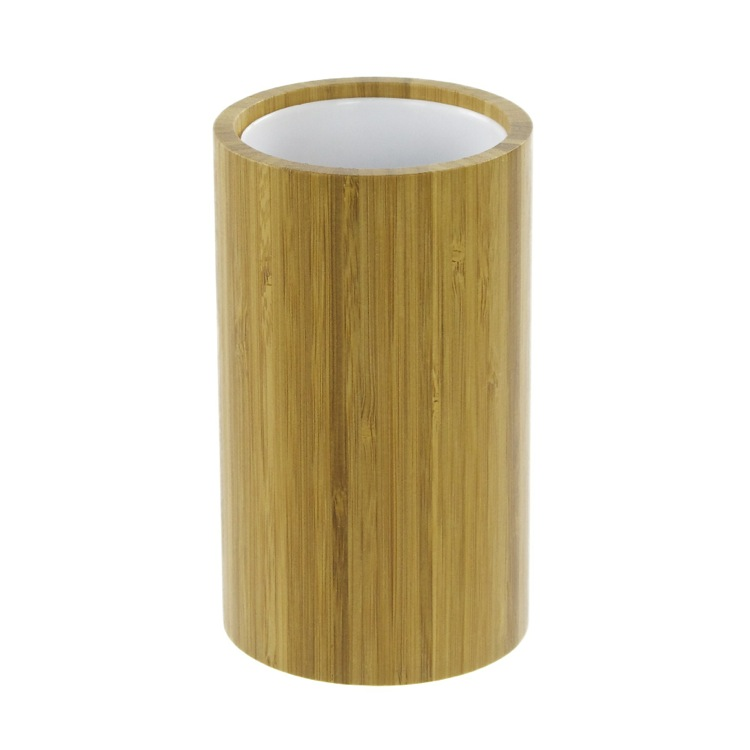 Toothbrush Holder, Gedy AL98-35, Round Natural Wood Toothbrush Holder