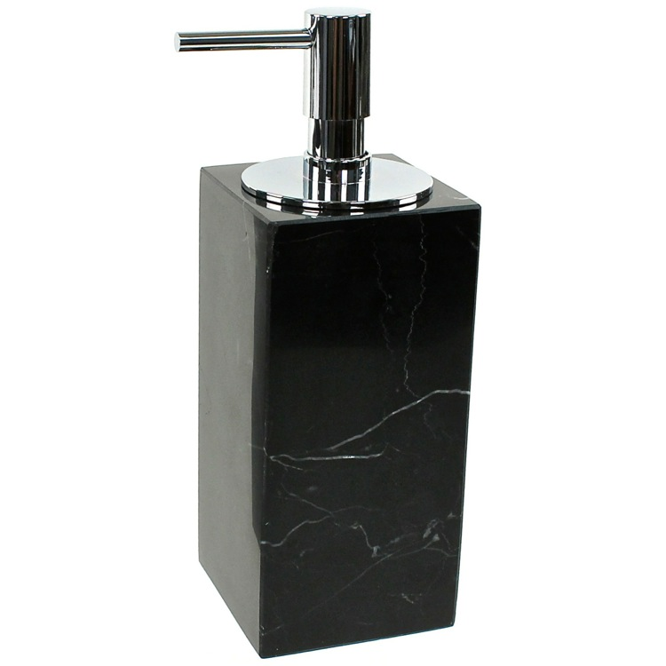 Soap Dispenser Gedy An81 14 Black Marble With Chrome Pump